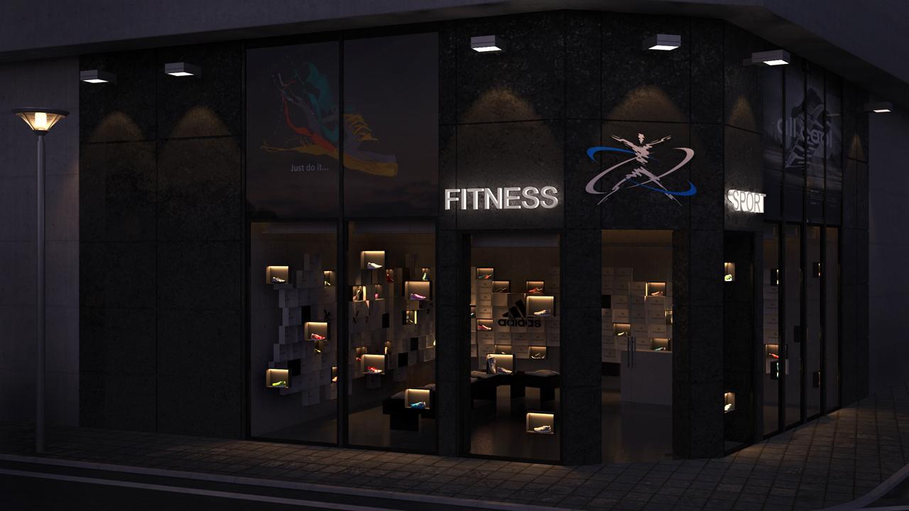 Dise o de tienda de deporte grupo ias for Fachadas de almacenes modernos