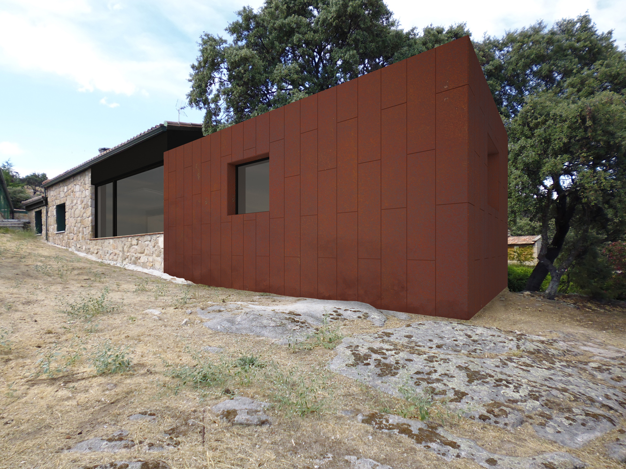 Ampliaci n vivienda unifamiliar en valdemorillo - Acero corten fachadas ...