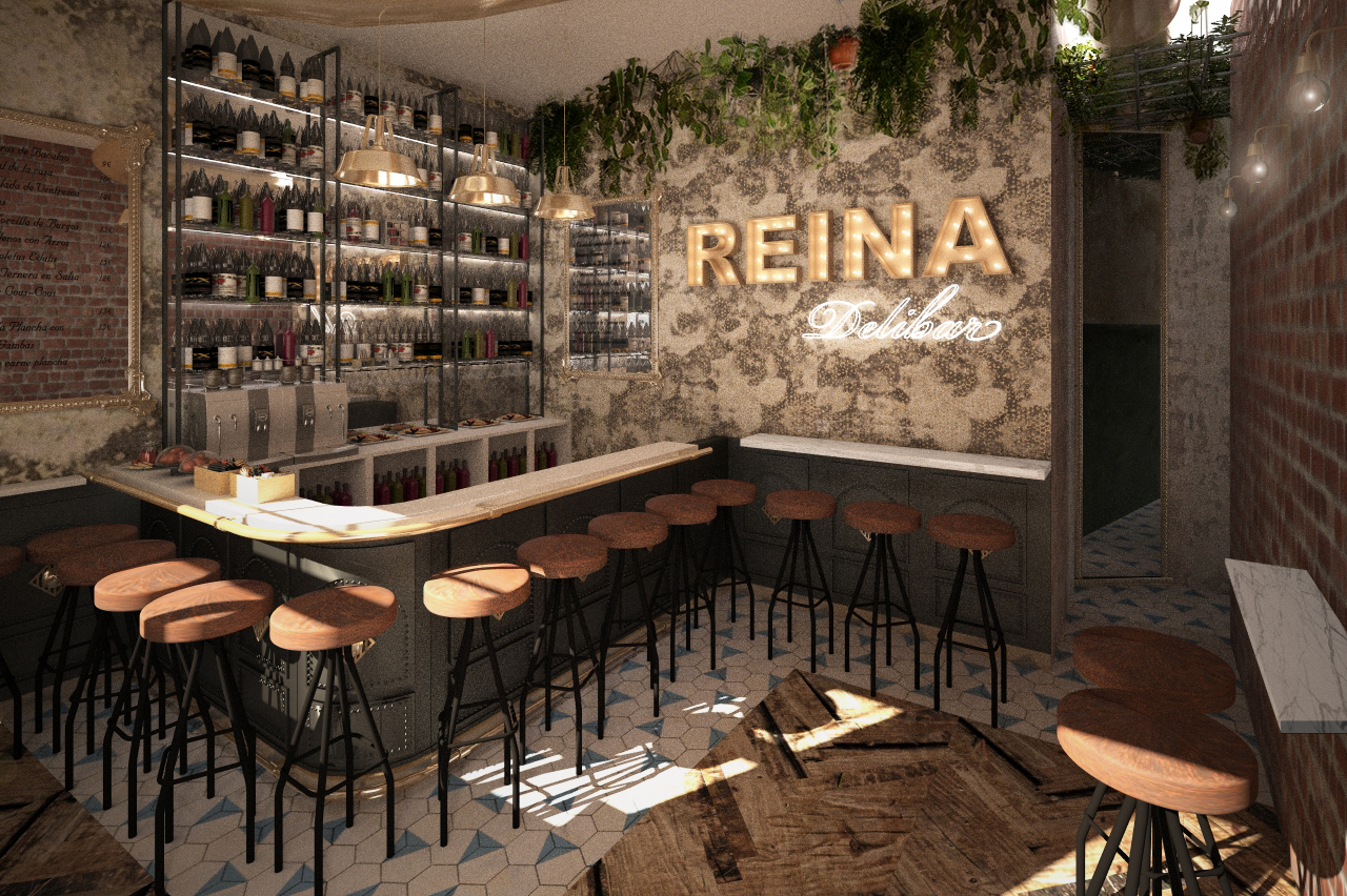 Restaurante delibar en calle la reina de madrid grupo ias for Disenos de bares rusticos