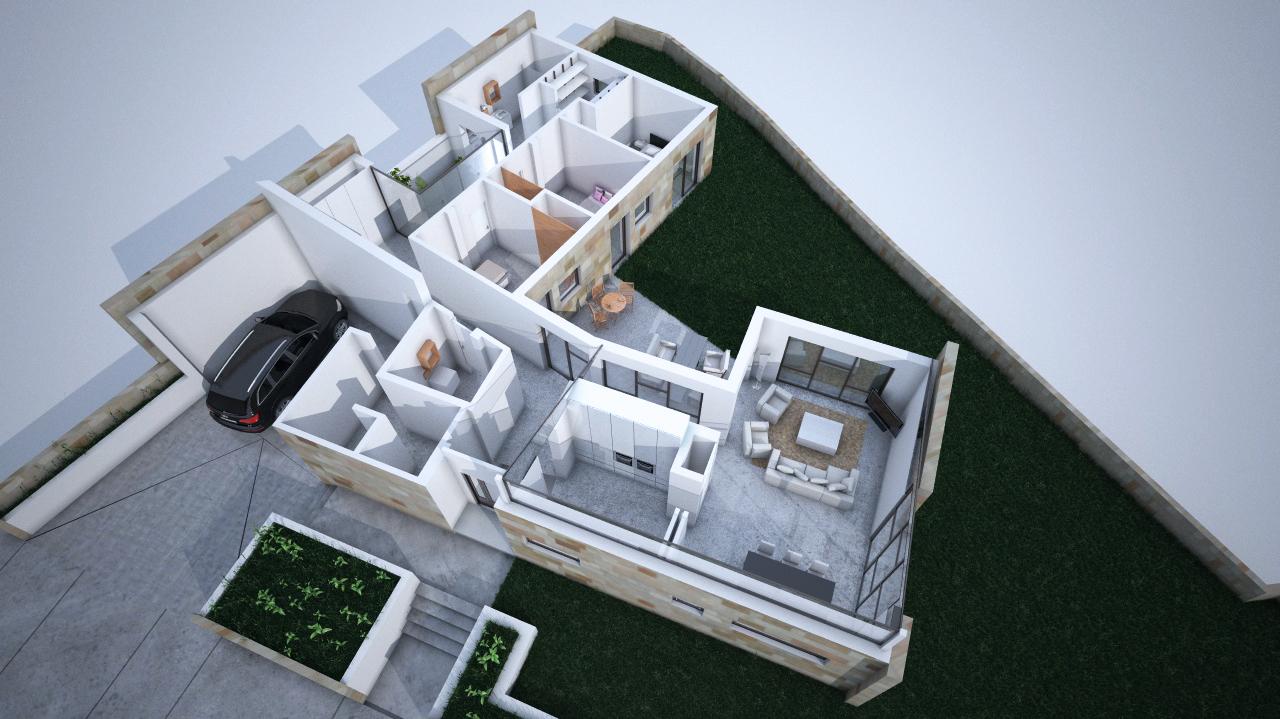 Maqueta 3D vivienda unifamiliar Grupoias