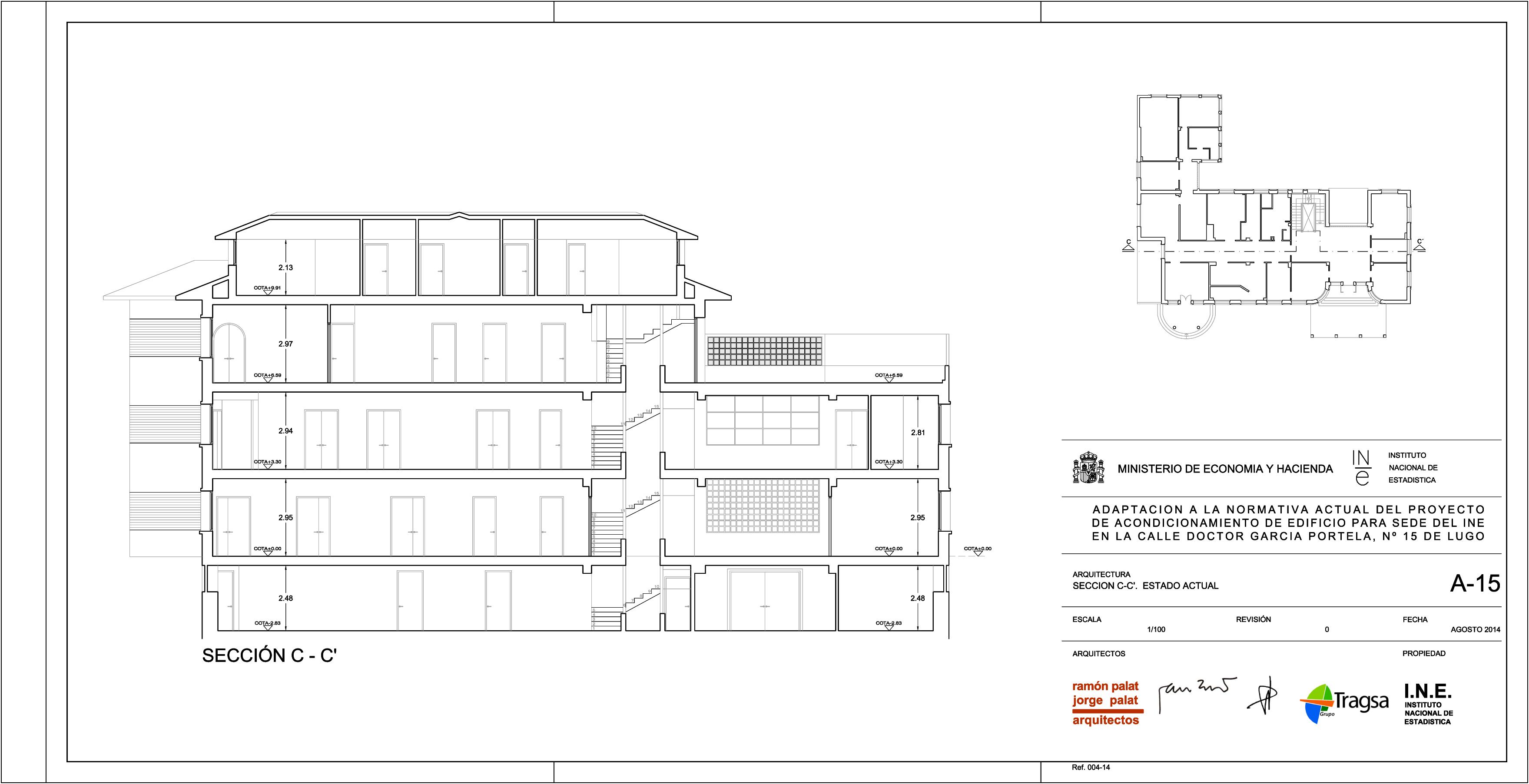 Sección edificio INE Lugo GrupoIAS